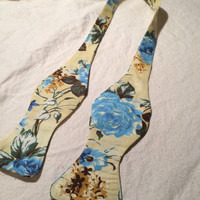 Handmade Blue Floral Pattern Bow Tie