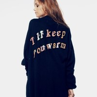 I'LL KEEP YOU WARM - MANHATTAN CARDIGAN at Wildfox Couture in  - CLEAN BLACK, -CLEAN WHITE