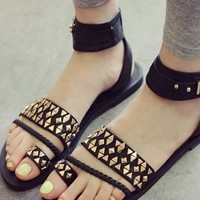 Punk Style Cool Fashin Black Rivet Sandals from shoponline4