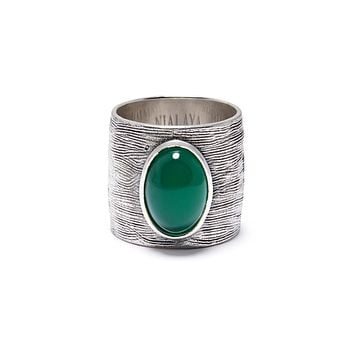 NIALAYA X JOHNNY EDLIND: Men's Carved Sterling Silver Ring with Green Stone