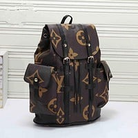 LV Louis Vuitton Casual School Bag Cowhide Leather Backpack
