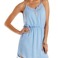 Curved Hem Chiffon Dress by Charlotte Russe