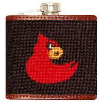 University of Louisville Needlepoint Flask in Black by Smathers & Branson