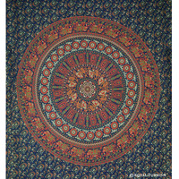 Green Indian Mandala Hippie Tapestry Wall Hanging