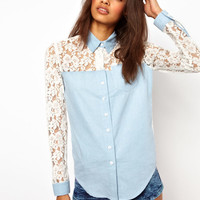 Lace Patchwork Long Sleeve Single-Breasted Chiffon Blouse