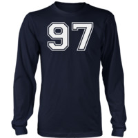 Men's Vintage Sports Jersey Number 97 Long Sleeve T-Shirt for Fan or Player #97