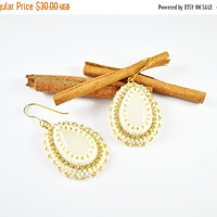 SUMMER SALE creamy white earrings , agate stone , tape zirconia , shiny earrings, wedding , cream earrings , earrings, cubic zirconia