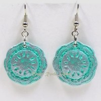 Aqua and Silver Vintage-Style Ceramic Earrings