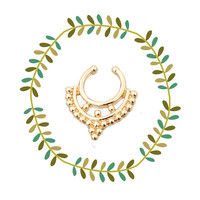 Boho Tribal Clip On Septum Ring, Gold Faux Nose Ring