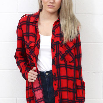 You're Plaid Perfect Button Down {Red+Black}
