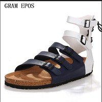 GRAM EPOS Men Summer Sandals Open Toe Cut-Outs Gladiator Sandal Boots Rome Style Mens Summer Sandalias Hombre Plus Size 39-47