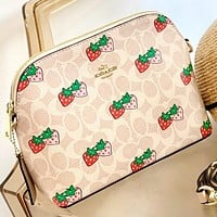 COACH Fashion New Pattern Strawberry Print Shoulder Bag Crossbody Bag