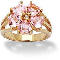 Lillith Star 14k Gold Overlay Pink and Clear CZ Flower Ring   Overstock.com