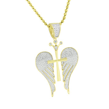 Cross Angel Crown Pendant Moon Cut Chain Gold Over 925 Silver