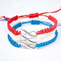 Infinity Bracelets Red, White and Blue 4th of July