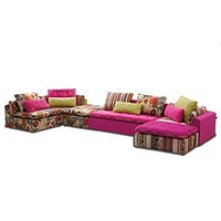 Modern Rustic Floral Print Fabric Sectional Sofa Set