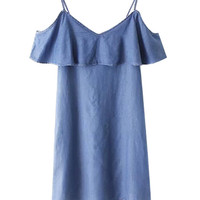 Strappy Ruffled Denim Dress