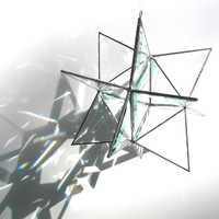 Moon's Companion - Small 3D Stained Glass Moravian Star - Geometric Home Decor Christmas Holiday Decoration Clear Suncatcher Prisms Hanging