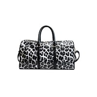 Luxe Leopard Print Vegan Leather Weekender Bag