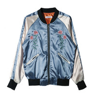 Flower Embroidered Zippered Jacket | STYLENANDA