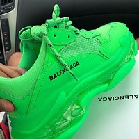 BALENCIAGA Triple S High Quality Women Men Fashion Contrast Color Crystal Soles Shoes Sport Sneakers Green