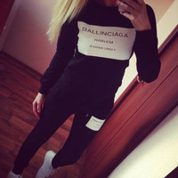 Woman Clothes sets  Ballinciaga Tracksuits 2 Piece Set Women Sport Suit Hoodies Jogging Free Shipping
