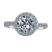 2 CT. Intensely Radiant Round Diamond Veneer Cubic Zirconia with Halo Setting Sterling Silver Engagement/Wedding Ring. 635R200