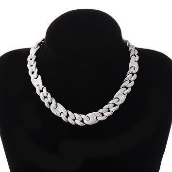 JINAO 16mm&20mm Miami New Box Clasp Cuban Link Chain Gold  Necklace Iced Out Cubic Zirconia Bling Hip hop for Men Jewelry