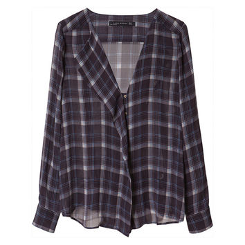 CHECKED SHIRT - Tops - Woman - Sale   ZARA United States