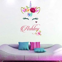 Unicorn wall decal Custom Name Vinyl Wall Decal Large Wall Decal Smiling Unicorn Decal Happy unicorn decal Unicorn lashes cik2273