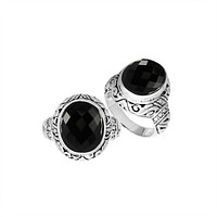 """AR-8025-OX-7"""" Sterling Silver Ring With Black Onyx"""