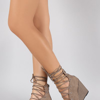Corset Lace Up Snake Embossed Wedge