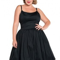 Jenny Dress in Black Sateen - Plus Size