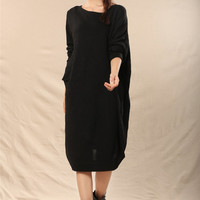 women Irregular knit dress sweater dress cotton sweater large size sweater loose dress