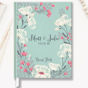 Wedding Guest Book, Hardcover, Mint Green Floral, Choice of Colors and Sizes