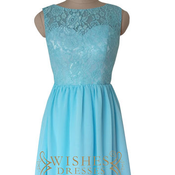 Lace Bodice Blue Chiffon Bridesmaid Dresses AM529