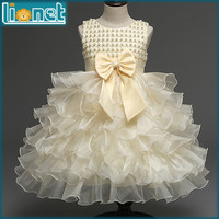 Summer Dress Luxury Petals Bowknot Girls Clothes Kids Dresses For Girls Crew Neck Sleeveless Floral Baby Girl Dress