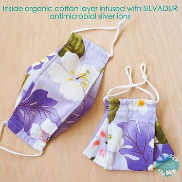 Antimicrobial 3D Face Mask + Adjustable Loops ~ Lavender Oasis