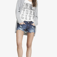 2 1/2 INCH LOW RISE DESTROYED DENIM CUTOFF SHORTS from EXPRESS