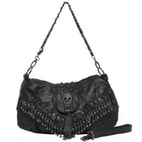 MG Collection Parkin Skull Studded Fringe Beads Purse, Black, One Size
