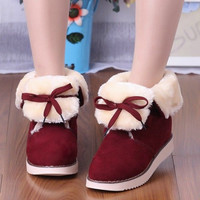 Lace Up Women Snow Boots Fur Artificial Suede Winter Platform Shoes Woman 2016 3495