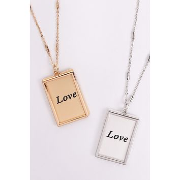"MYN1421MGLV - ""LOVE"" ETCHED BRASS BOX PENDANT NECKLACE"
