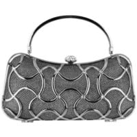 MG Collection Metallic Abstract Woven Rhinestones Evening Baguette Minaudiere