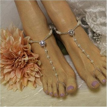 ELEGANCE  wedding barefoot sandals - rose gold