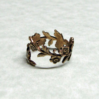 Forest Leaf Spray Ring band by ranaway on Etsy
