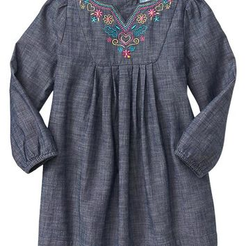 Gap Baby Factory Floral Chambray Dress
