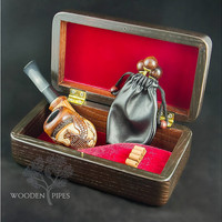 Smoking pipe SET for pipe smokers. Wooden Gift Box for Tobacco smoking pipe & Carved smoking pipe + Tamper and Cleaning Tools. Pipe Pipes