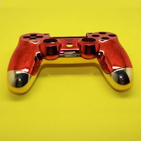YX-235  red front shell+chrome gold back shell For Playstation PS4 controller Dualshock 4