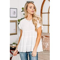 Queen Of Casual Babydoll Top | White
