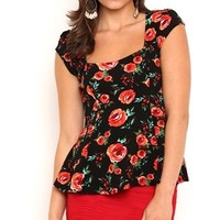 Short Sleeve Textured Peplum Top with Rose Print